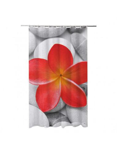 FRANDIS Rideau de Douche Polyester Rouge 180 x 200 cm Fleur Rouge ...