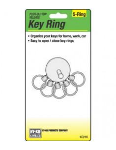HY KO Porte-clef Détachable 5 anneaux