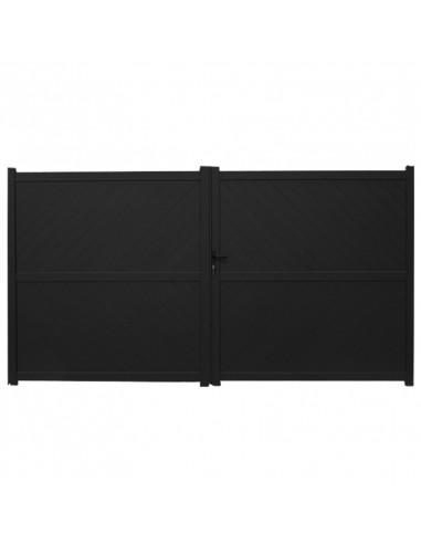 portail aluminium 2 battants 3500 x 1870 mm noir hyper brico. Black Bedroom Furniture Sets. Home Design Ideas