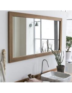 PASCAL JR PILLET Miroir de salle de bain encadré en teck 90 x 70 cm