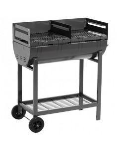 Barbecue à charbon en acier sur chariot, 2 grilles 40 x 40 cm