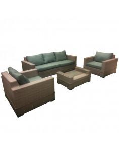 Ensemble salon de jardin beige 1 canapé + 2 fauteuils + 1 table basse