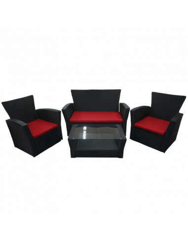 Ensemble salon de jardin 4pcs 1c+2f+1