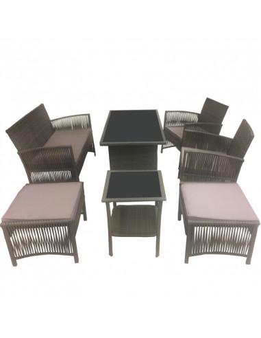 Ensemble salon de jardin 1 canapé + 2 fauteuils + 2 chaises + 1 ...