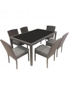 Ensemble salon de jardin 1 table + 6 chaises (7 pcs)