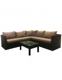 Ensemble salon de jardin 1 canapé d'angle + 1 table (3 pcs)