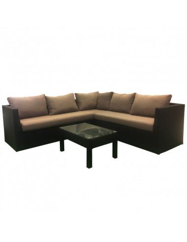 Ensemble salon de jardin 1 canapé d\'angle + 1 table (3 pcs) - HYPER BRICO