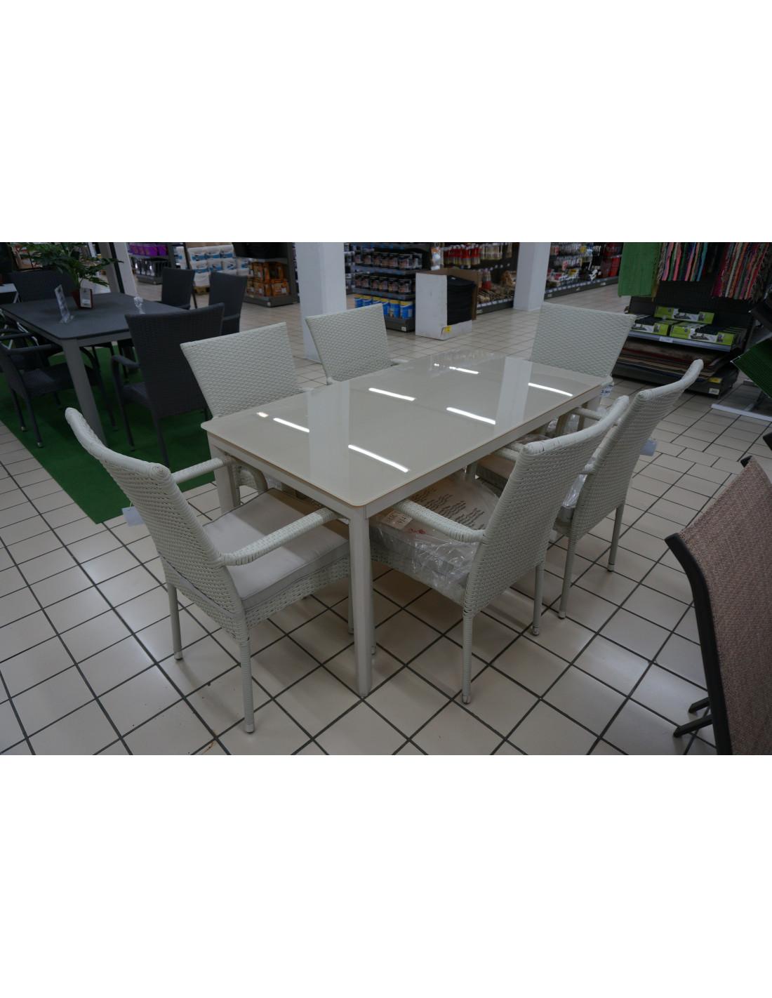 Table de jardin Alu blanc/Plateau verre - HYPER BRICO