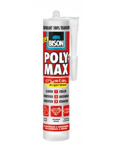 BISON POLY MAX® CRYSTAL EXPRESS Colle-mastic de montage et d'étanchéité universelle Crystal Clear 300 g