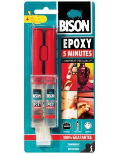BISON EPOXY 5 MINUTES Colle epoxy à deux composants, transparente et rapide 24 ml