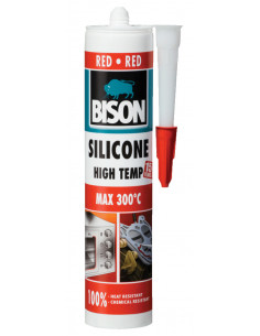 BISON SILICONE HIGH TEMP Silicone thermorésistant Rouge 280 ml