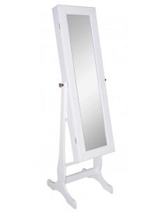 MARKET Miroir 2 en 1 : Miroir et Armoire à bijoux MDF laqué blanc H.156 cm
