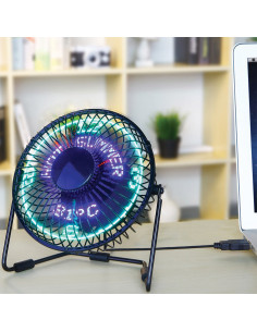 MARKET Mini Ventilateur LED USB Ø15 cm x H.19 cm - Horloge