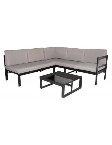 Ensemble salon de jardin métal & textile 1 canapé d\'angle + 1 table métal -  HYPER BRICO