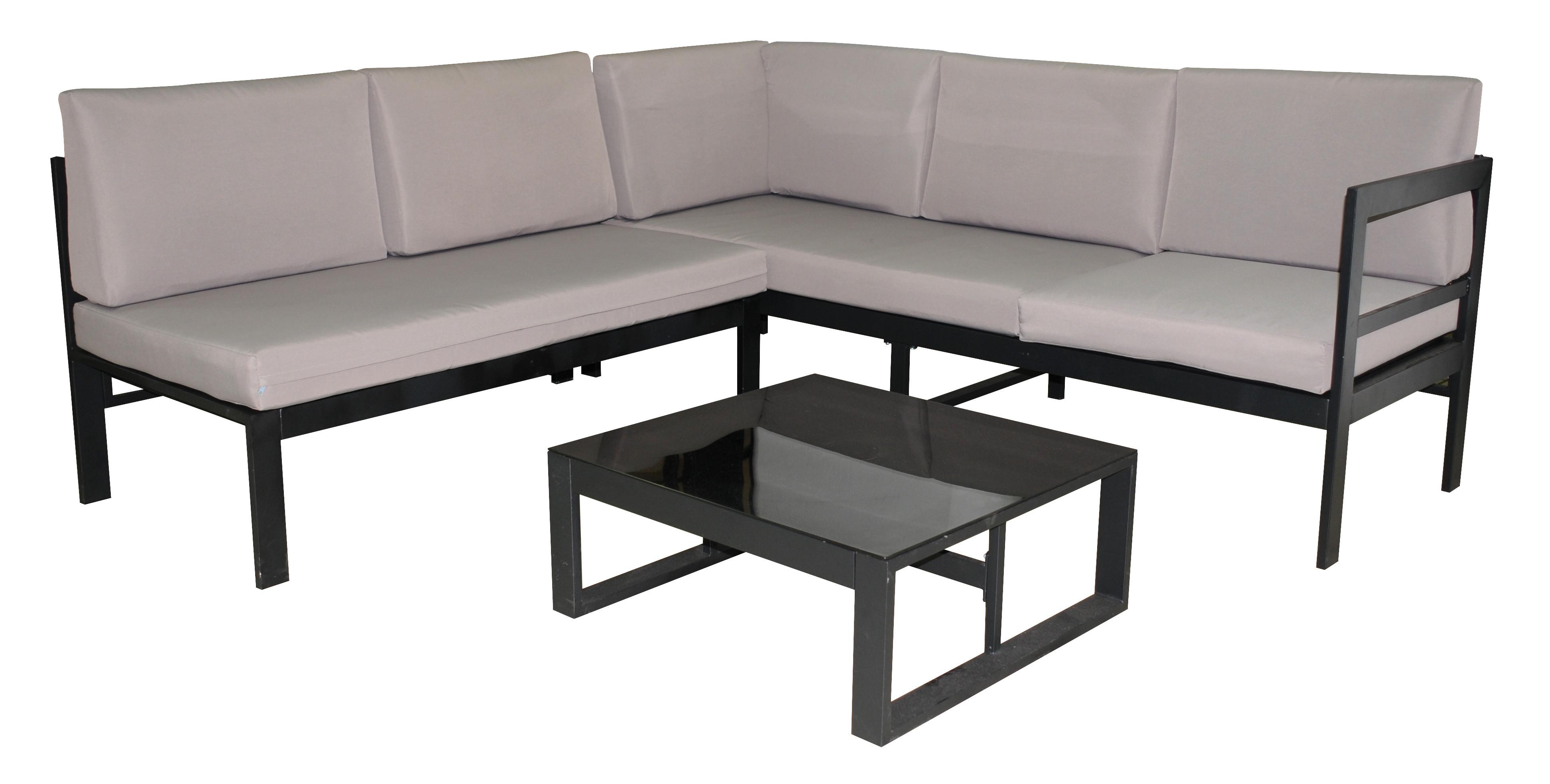 Ensemble salon de jardin métal & textile 1 canapé d'angle +