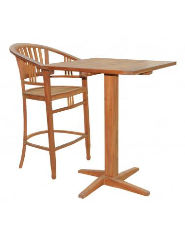 PASCAL JR PILLET Table haute en teck TEXAS 80 x 80 x H.112 cm