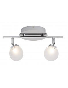 BRILLIANT Plafonnier Spot 2 lumières LED plat chrome/blanc