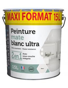 RECA Peinture Acrylique BATIR Mat Blanc Ultra 15L
