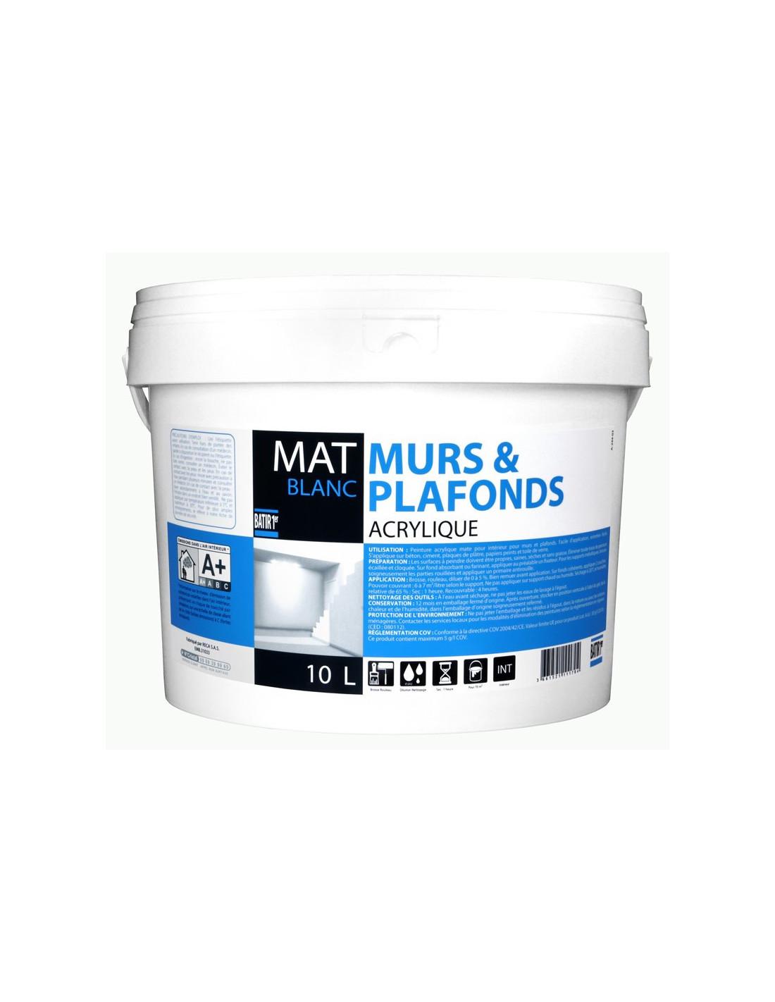 Peinture Blanc Brillant Mur Et Plafond reca peinture acrylique batir 1er prix mur & plafonds mat blanc 10 l