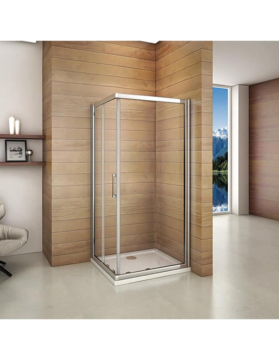 Paroi de douche d 39 angle avec porte coulissante 90 x 90 x cm hyper brico - Porte de douche d angle coulissante ...
