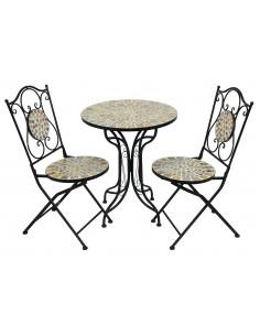 MARKET Ensemble 1 table + 2 chaises métal