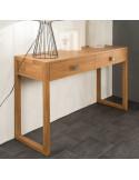 PASCAL JR PILLET Console en bois de Teck 2 tiroirs 120 x 35 x H.80 cm