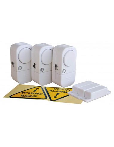 TIBELEC Kit de 3 Mini Alarmes sans fil pour Détection d'ouverture