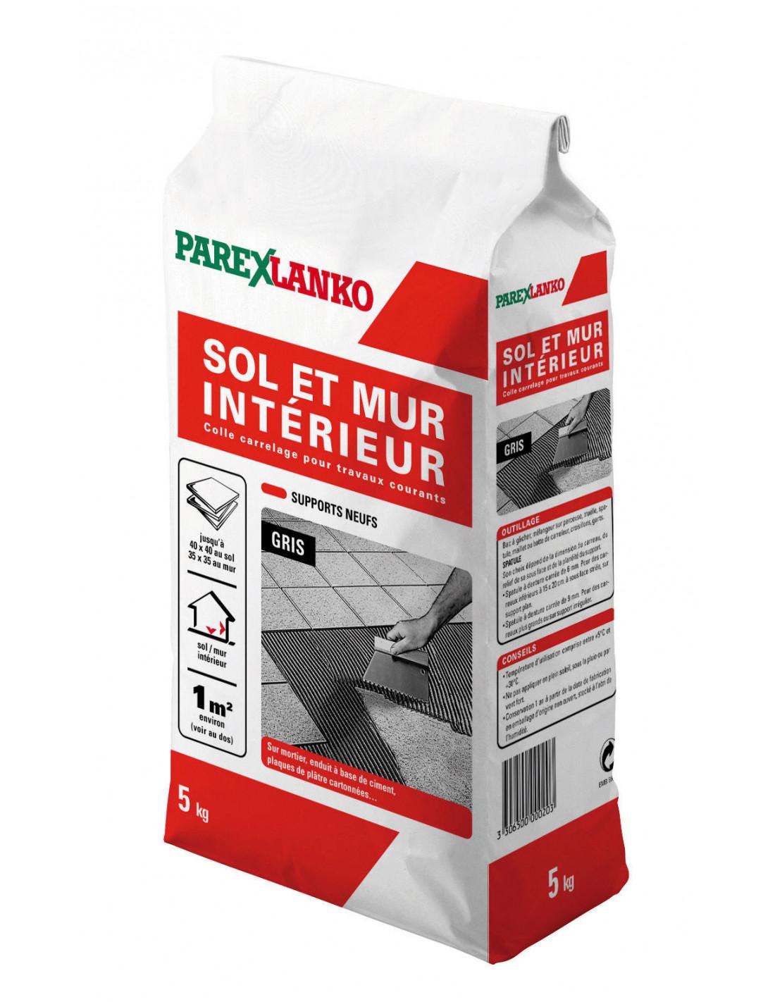 Coller Corniere Alu Sur Carrelage Exterieur parex lanko sol et mur interieur colle carrelage pour travaux courants 5 kg  gris