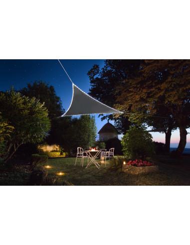 JARDILINE Voile d'ombrage Triangulaire 3,60 m avec bordure LEDs solaires