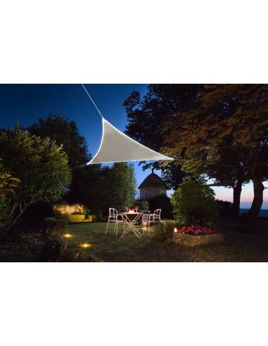 JARDILINE Voile d'ombrage Triangulaire 3,60 m avec bordure LEDs solaires Taupe