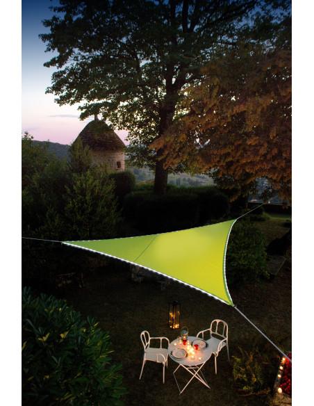 JARDILINE Voile d'ombrage Triangulaire 3,60 m avec bordure LEDs solaires Vert