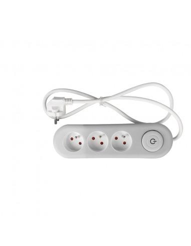 COGEX Bloc 3 Prises avec Interrupteur Rond Câble Enroulable Gris Clair
