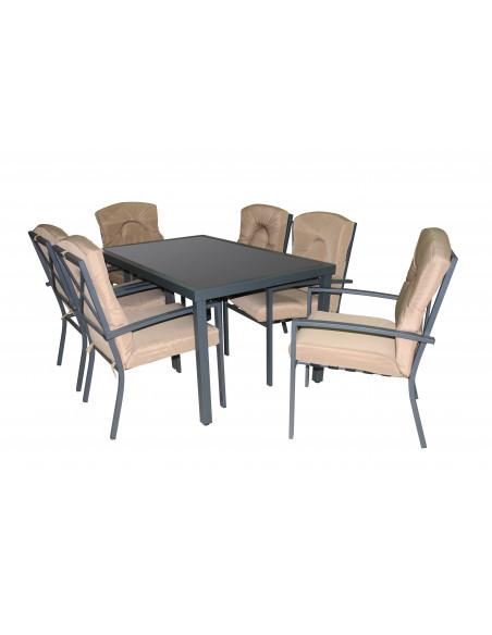 Ensemble table de jardin avec 6 chaises métal bh8