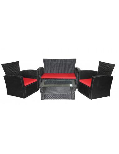 Ensemble salon de jardin en résine tressée 1 canapé + 2 fauteuils + ...