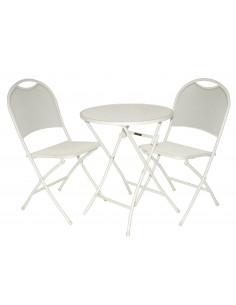 Ensemble table de jardin ronde avec 2 chaises métal