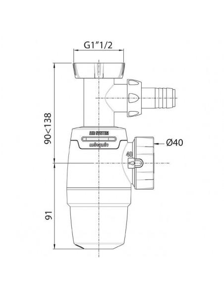 WIRQUIN Siphon d'évier NEO AIR sans prise machine à laver Ø40 mm