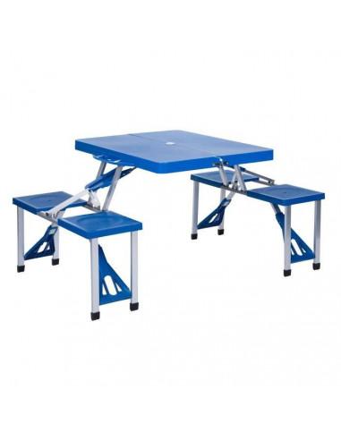Table Valise Pique-nique Pliante Métal + Plastique Bleue