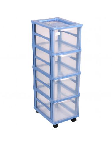 FORNORD Tour de rangement 4 tiroirs bleu