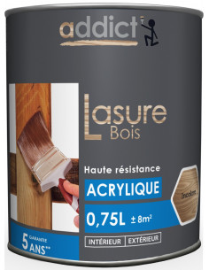 RECA Lasure Acrylique Bois ADDICT Incolore 0,75 L