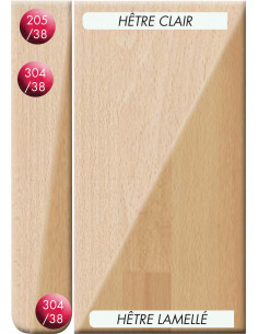 SUPBOIS Plan de travail Stratifié HPL Finition Standard Hêtre Clair 205 x 64,5 cm Ep. 38 mm