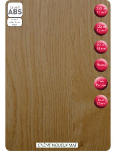 SUPBOIS Tablette Mélaminée Chêne Noueux Mat 250 x 50 cm Ep. 18 mm