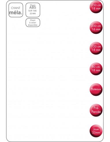 SUPBOIS Tablette Mélaminée Blanc 2 Chants 250 x 30 cm Ep. 18 mm