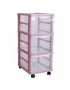 FORNORD Tour de rangement 3 tiroirs rose