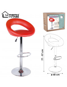 FORNORD Tabouret de bar pu rouge WE LOVE Ø 40 cm x h. 77-97 cm