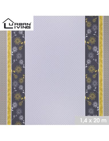 FORNORD Toile cirée décor gris & moutarde Rouleau l.140 cm x L.20 m à la découpe, prix au mètre linéaire