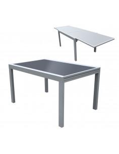 FORNORD Table rallonge alu/verre gris/noir L.135/270 x l.90 x H.75 cm