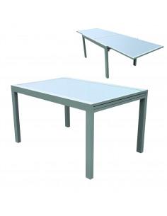 FORNORD Table rallonge alu/verre champagne/taupe L.135/270 x l.90 x h.75 cm