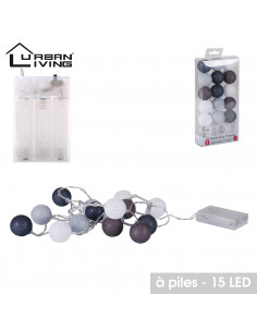 FORNORD Guirlande 15 LED boule gris et blanc Ø 3,5 cm avec système à piles