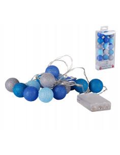 FORNORD Guirlande 15 LED boule bleu Ø.3,5 cm à piles
