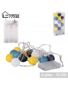 FORNORD Guirlande 15 LED boule bleu/gris/jaune Ø.3,5 cm à piles